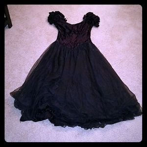 Gothic tulle prom dress gown steampunk black 90s
